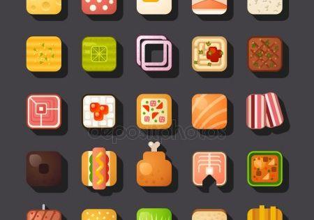 Conjunto De Iconos De Alimentos En Forma Cuadrada Ilustracion De Stock Iconos De Alimentos Ilustraciones De Alimentos Conjunto De Iconos