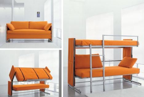 Using Multifunction Furniture design for small house:bunk bed sofa