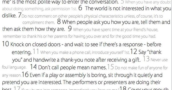25 Manners Kids Should know (Can we have parents take a test