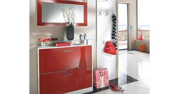 modern meubel voor in de hal met schoenenkast spiegel en kapstok ...