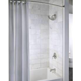 Shop Moen 72 In Brushed Nickel Curved Adjustable Shower Curtain