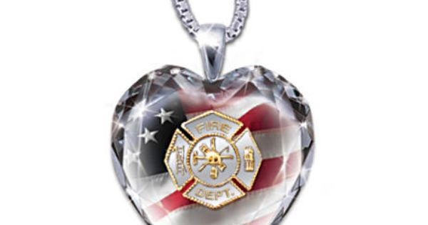 My Hero Firefighter Crystal Heart Pendant Necklace Crystal