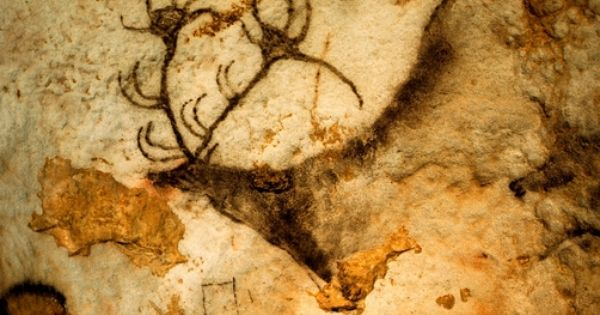 prehistoric artists painted a red deer on a cave wall location lascaux cave france cave. Black Bedroom Furniture Sets. Home Design Ideas
