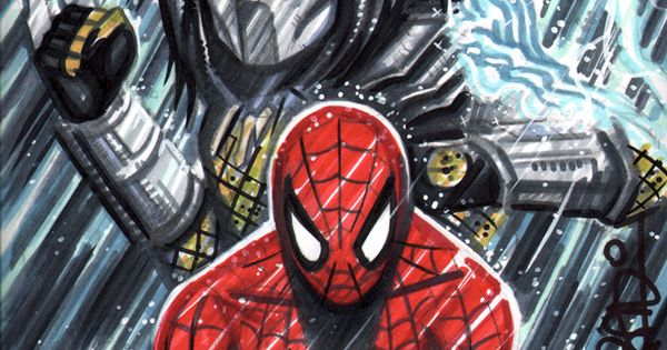 Spiderman vs. Predator - sketch cover - Scott Blair | Nerd ...