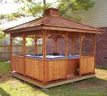 Custom Gazebo Plans 12ft Square Hip Roof With Step By Step Hot Tub Garden Hot Tub Outdoor Hot Tub Gazebo