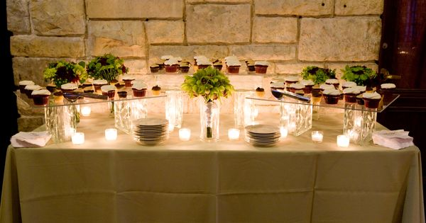 Cupcake Display With Glass Blocks And Clear Platters