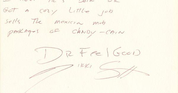 Nikki Sixx Of Motley Crue Handwritten Signed Lyrics For