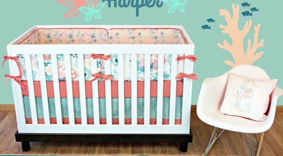 Ocean Crib Bedding Girl, Ocean Theme Nursery Bedding