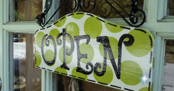 Boutique OPEN CLOSED sign - Pea Soup Green POLKA Dots - super cute and ...
