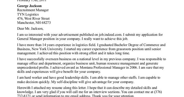 General Resume Cover Letter - (adsbygoogle = Window.adsbygoogle