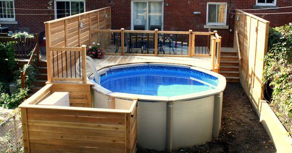 deck verret above ground pool deck with tempered glass. Black Bedroom Furniture Sets. Home Design Ideas
