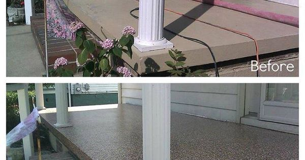 Before And After Of Cement Porch Painted With Epoxy Paint