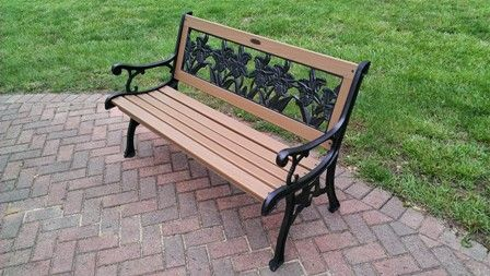 Restored Garden Bench In Which The Wood Slats Were Replaced With