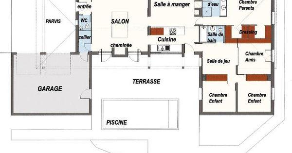 plan maison plain pied gratuit 4 chambres 1 Plan Maison Plain Pied