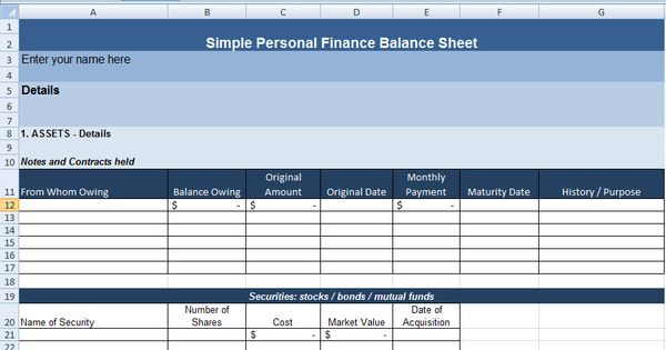 simple personal finance balance sheet template