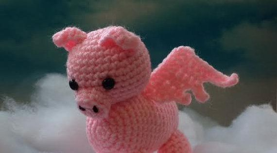 Amigurumi Dictionary Meaning : Flying Pig Made to Order pig amigurumi When Pigs Fly by ...