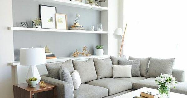 wohnideen hellgraue wandfarbe wei e wandregale wohnideen. Black Bedroom Furniture Sets. Home Design Ideas