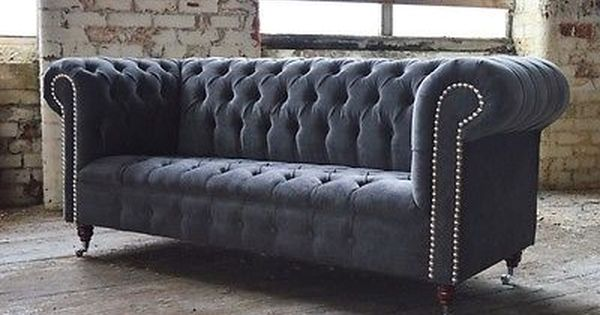 Modern Handmade Slate Grey Velvet Fabric Chesterfield Sofa Chair 3 Seater Fabric Chesterfield Sofa Homemade Sofa Velvet Chesterfield Sofa