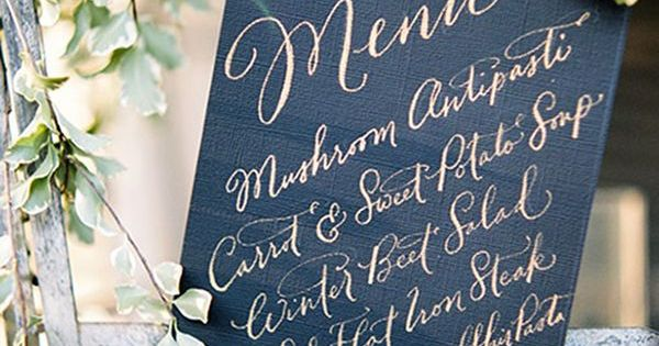 Wedding menus in bold colors and full of gorgeous Calligraphy classes near me
