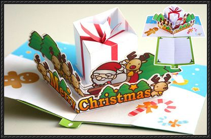Christmas Pop Up Card Paper Craft Free Template Download Http Www Papercraftsquare Com Christmas Pop Card Pape Paper Crafts Cards Paper Crafts Pop Up Cards