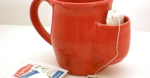 """Tea cup with a tea bag """"side pocket"""""""