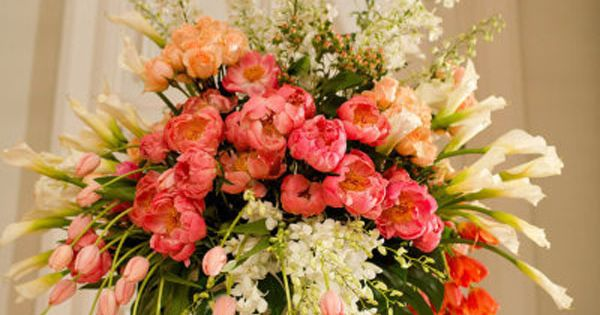 Ed Libby Events, Garden Style Urn arrangement of Coral Charm Peonies, Peach