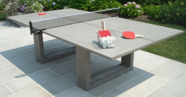 Concrete Ping Pong Dining Table by James DeWulf at Gilt