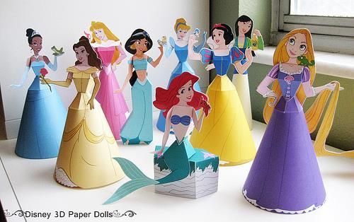 Disney Princess 3d Paper Dolls By Disney Family Photo And Models Assembled By Finding Time To Princess Paper Dolls Disney Princess Party Princess Birthday