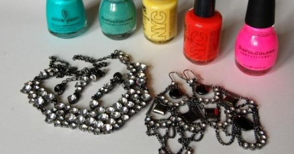 paint old jewelry with nail polish for a DIY Rock Candy Jewelry