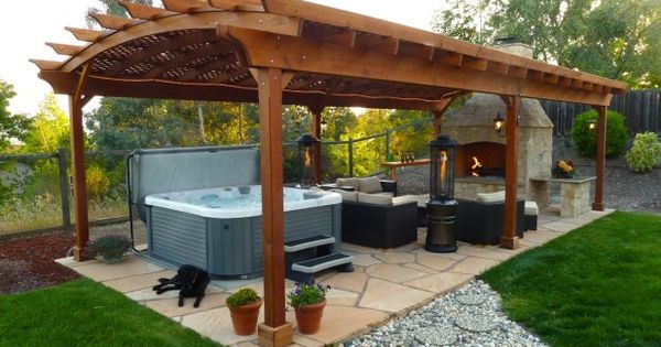 outdoor  unique backyard hot tub ideas  fascinating lounge outdoor gazebo ideas natural granite