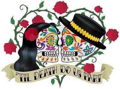 Til Death Do Us Part Skeleton Wedding Sugar Skull Phone Bag