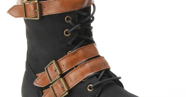 Mesa Three Buckle Military Boot In Black & Tan