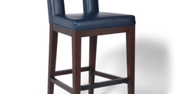 Oliver Leather Bar Stool Textured Navy Or Textured Ivory