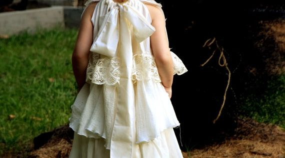 Vintage Antique Linen And Lace Flower Girl Country Wedding Fall Shabby Chic R