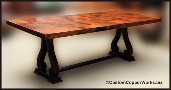 Copper Dining Tables Mexican Copper Top Dining Tables Copper
