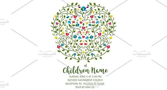 Christening Invite – Invitation Template with Pigeon and Flowers by verkelis on @creativemarket