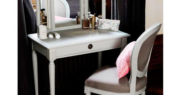 Coiffeuse en bois eugenie comptoir de famille l83cm avec for Meuble coiffeuse avec miroir pas cher