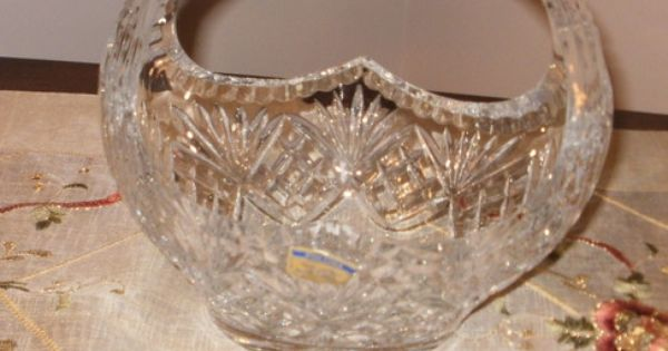 Large Polonia Solid Lead Crystal Cut Basket Made In Poland Ebay Items Pinterest Baskets