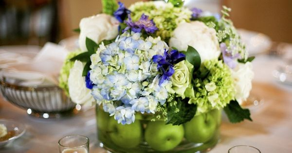 Apples flowers blue green hydrangea centerpiece these