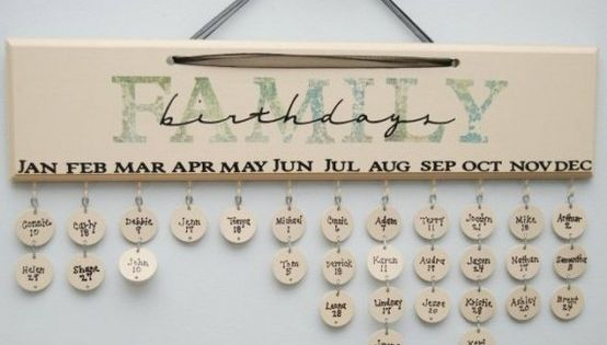 GREAT idea!! family birthday calendar.