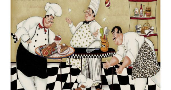 Kitchen Kapers Ii Premium Giclee Print Chef Pictures Kitchen