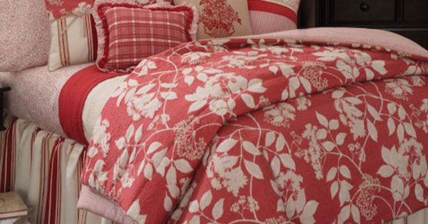 Southern Seasons Coral And White Floral Comforter Set