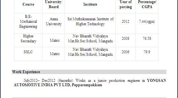 mechanical engineer resume for fresher