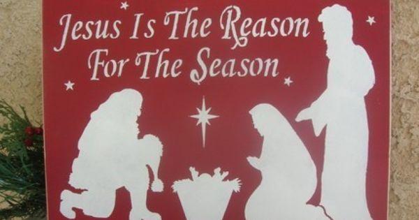Jesus Is The Reason For The Season Wood Sign Santa