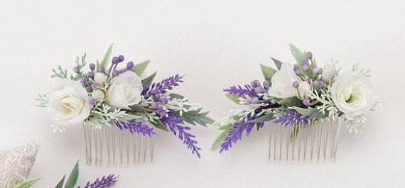 Bridal Hair Comb Purple Flower Comb Rustic Wedding Hair Comb Lavender Headpiece Bridal Comb Wedding Hair Piece Lavender Flower Hair Comb