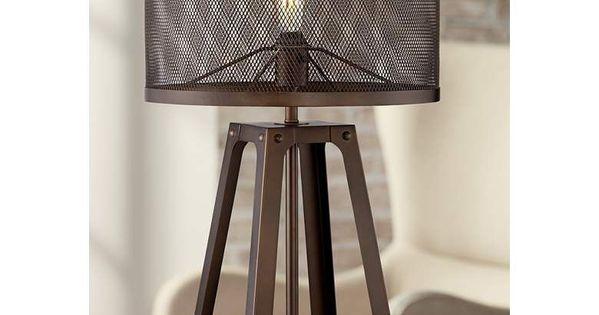 Gabe Metal Mesh Shade Farmhouse Table Lamp 46e43 Lamps Plus Farmhouse Gabe Lamp Lamps Mesh Metal Shade In 2020 Farmhouse Table Lamps Metal Table Lamps Lamp