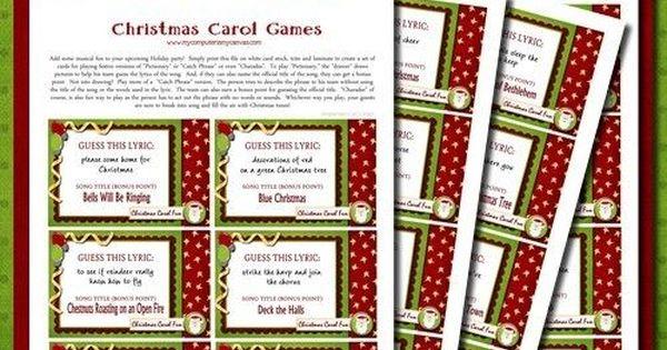 Christmas Carol Printable: Christmas Carol Pictionary, Christmas Games, Family Game