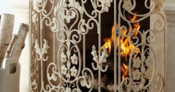 French Country White Iron Fireplace Screen By Intelligent