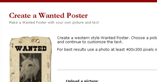 Tuxpi: Make Your Own Wanted Poster | Western theme and School
