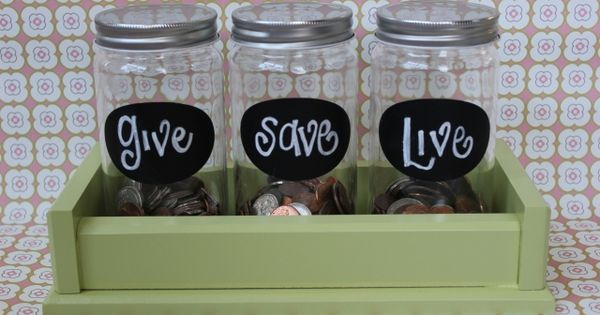Love these money saver jars to teach kids about giving/saving/spending. Maybe I